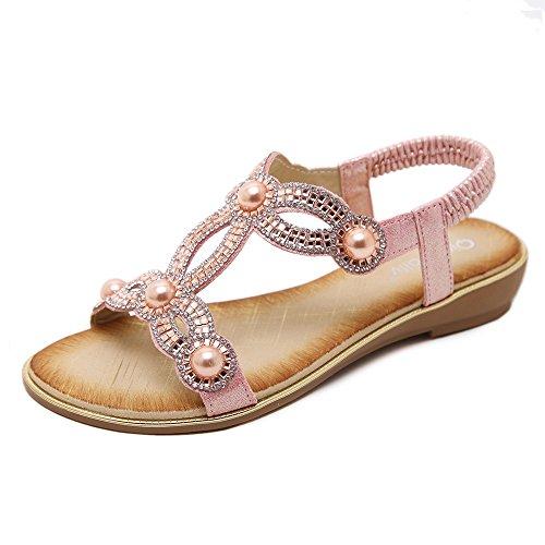 Meeshine Women Rhinestone Beaded Gladiator Flat Sandals Summer Beach Sandal Pink US (Pink Dress Sandals)