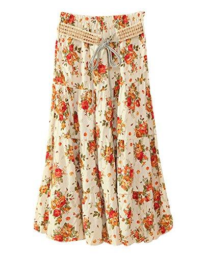 Jupe Femme Casual Style Imprim Floral Taille Haute Midi Longue Jupes Rtro Bohme Beige Rose