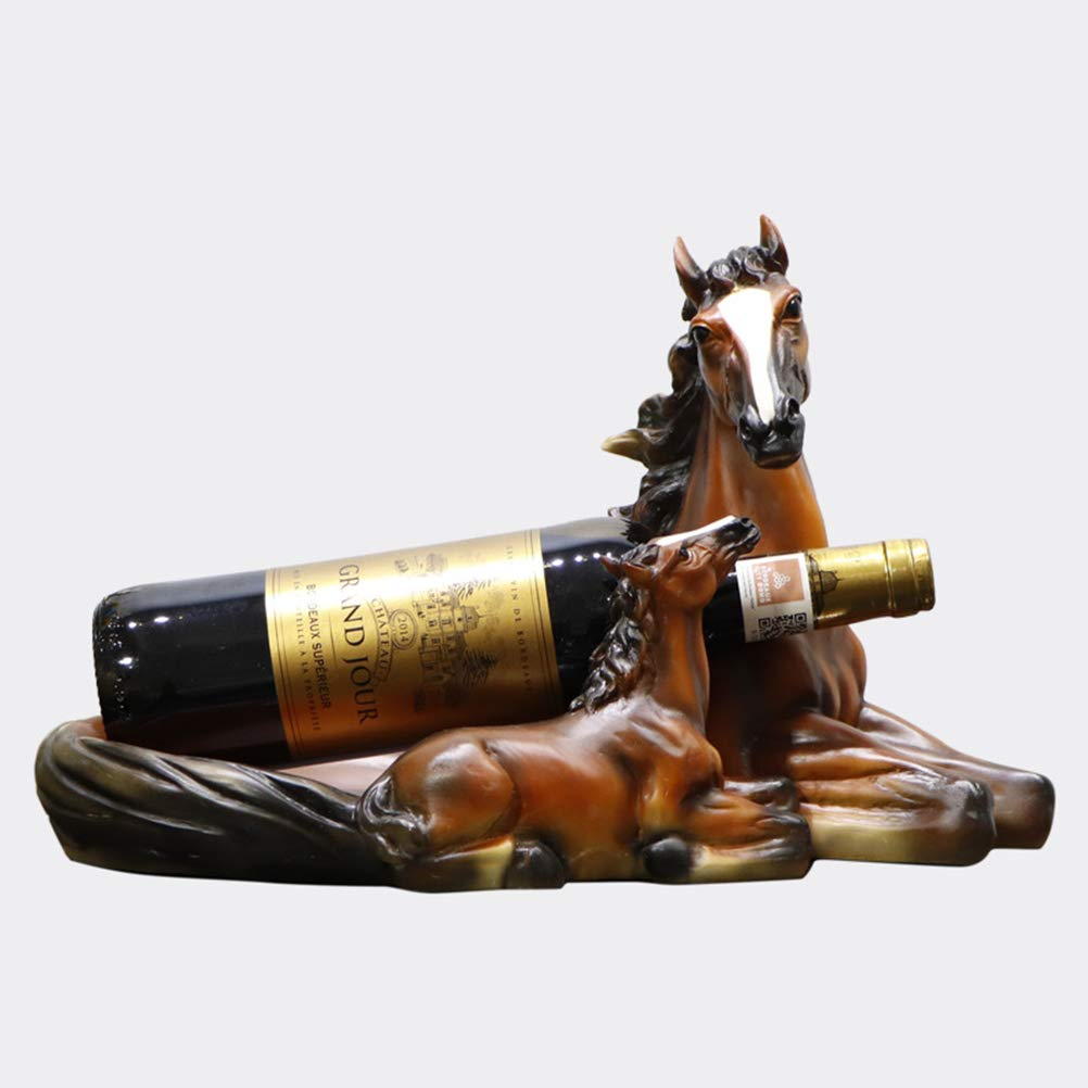 Resin Wine Rack, Vintage Mother and Son Horse Wine Rack Crafts Decoration/Home Decoration Gifts by Honey-fruit