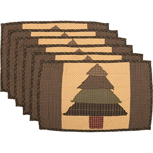 - VHC Brands Rustic & Lodge Holiday Tabletop & Kitchen - Sequoia Green Quilted Placemat Set of 6, 12 x 18 Oval,