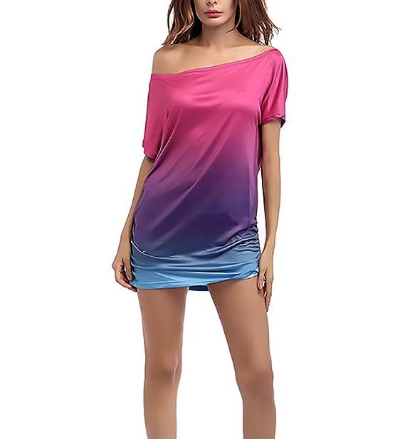 Camisetas Mujer Verano Basicas Color Degradado Manga Corta Anchos Hippie Joven Moda Sencillos Diario Casual T