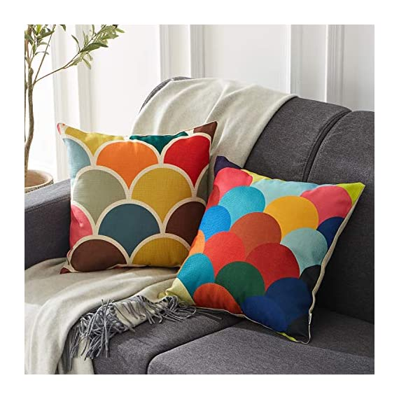 Top Finel Decorative Outdoor Throw Pillow Covers Set - Square Cotton Linen Cushion Covers 18 X 18 Inch for Sofa Couch, Set of 6, Series - SUPER PLUSH MATERIAL & SIZE: Made of high quality cotton linen, comfortable to touch and lay on. 18 X 18 Inch per pack, included 6 packs per set, NO PILLOW INSERTS. WORKMANSHIP: Delicate hidden zipper closure was designed to meet an elegant look. Tight zigzag over-lock stitches to avoid fraying and ripping. NO PECULIAR SMELL: Because of using environmental and high quality cotton linen fabric,our throw pillow cases are the perfect choice for those suffering from asthma, allergen, and other respiratory issues. - patio, outdoor-throw-pillows, outdoor-decor - 51gq Oosq1L. SS570  -