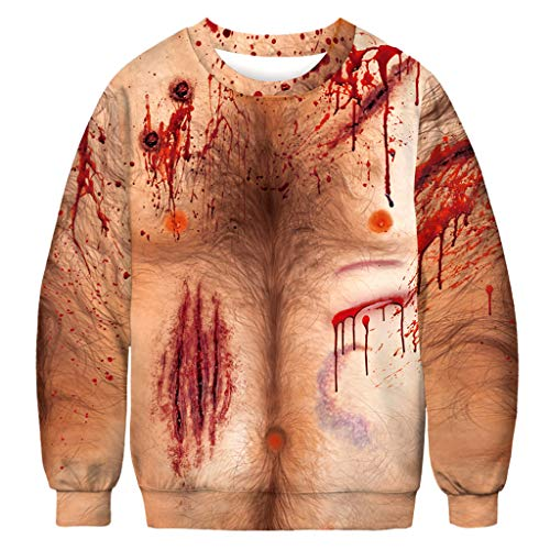FEDULK Mens Womens Halloween Costume Pullover Scary 3D Bloodstain Print Long Sleeve O Neck Tops Blouse(Red2, ()