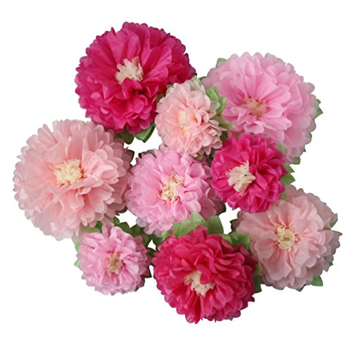 Mybbshower Pink Wedding Paper Flower Backdrop Birthday Party Nursery Living Room Home Decoration Pack of 9 ()