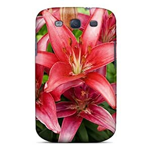 New Fashionable LastMemory Cover Case Specially Made For Galaxy S3(red Lilies Flowers)