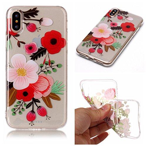 iPhone X Hülle, Modisch Blume Transparent TPU Silikon Schutz Handy Hülle Handytasche HandyHülle Etui Schale Schutzhülle Case Cover für Apple iPhone X