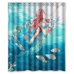 Creative Home Ideas Beautiful Sea Ocean Mermaid Princess and Fish Art Fabric Shower Curtain with Hook 60\