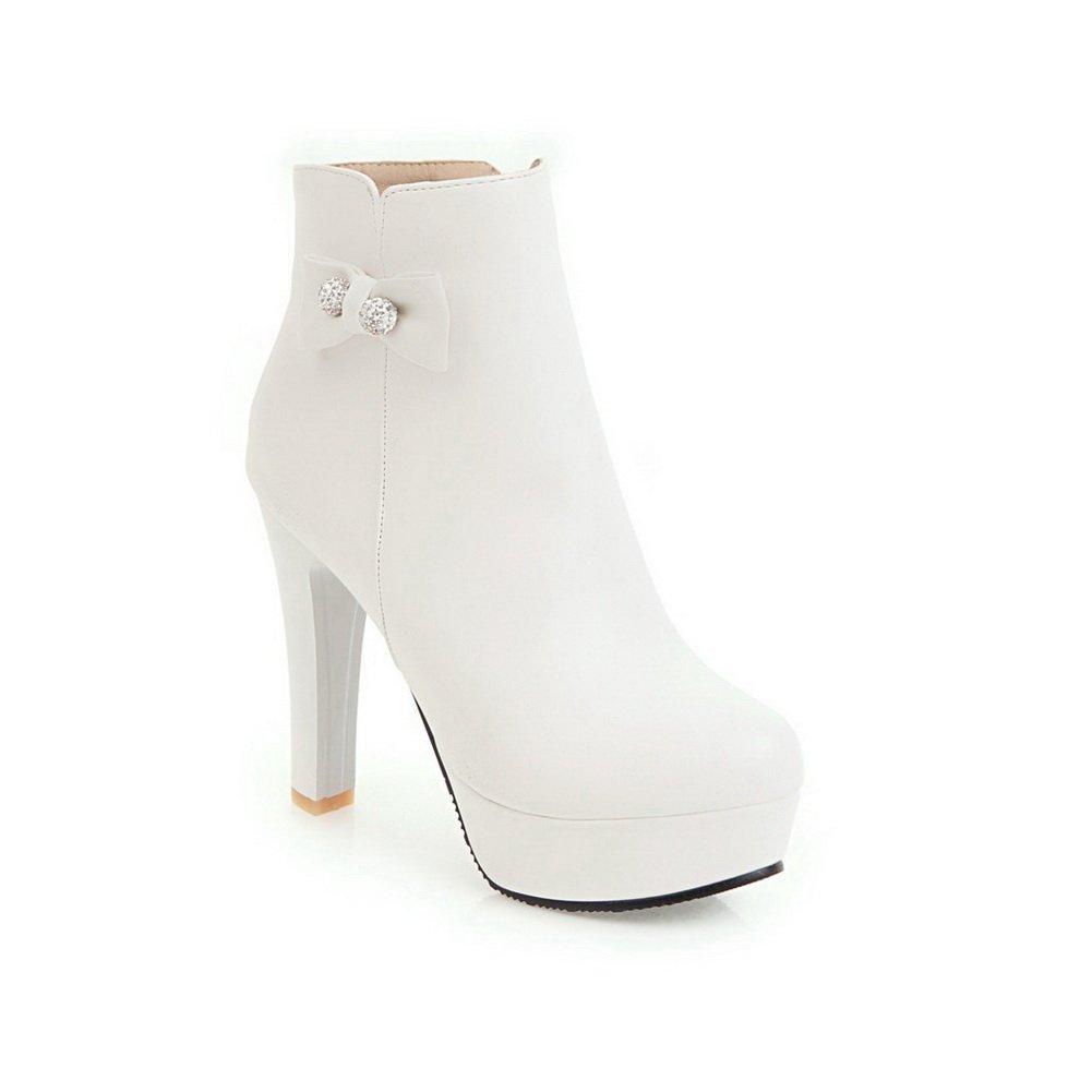 AdeeSu Womens B078WVM9ZB Chunky Heels Platform Round-Toe Leather Boots SXC02621 B078WVM9ZB Womens Platform 9544f4