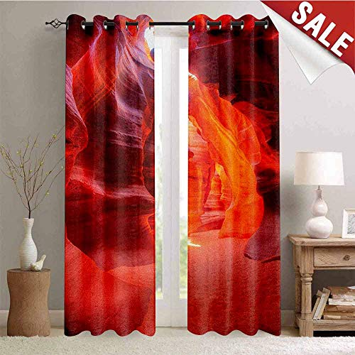Hengshu Americana Waterproof Window Curtain Sunbeam Piercing Through Sandstone at High Noon in Antelope Canyon Picture Decorative Curtains for Living Room W108 x L108 Inch Orange Red - Sandstone Pearl Pearl Antique
