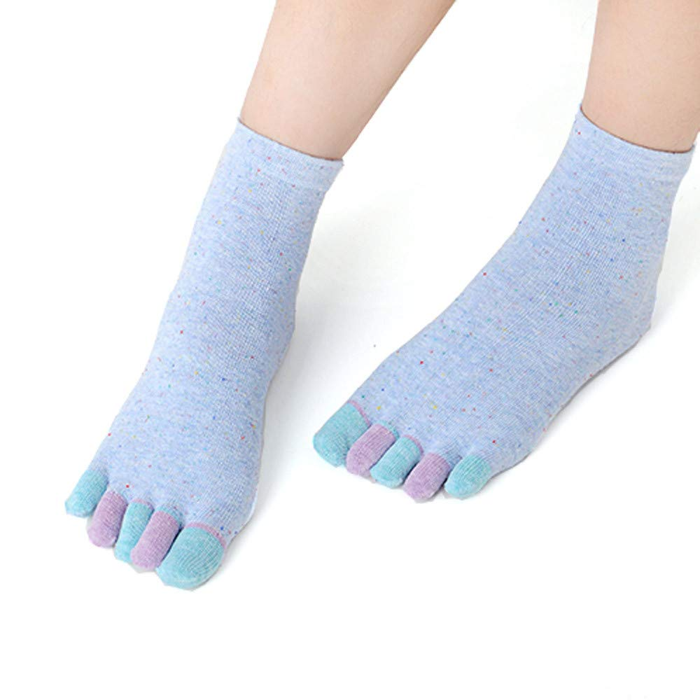 Women Cotton Yoga Gym Toe Colorful Non Slip Massage Full Grip Socks Heel 1Pair