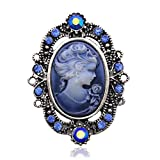 Dark Blue Cameo Brooch Pin Charm Necklace Pendant Compatible