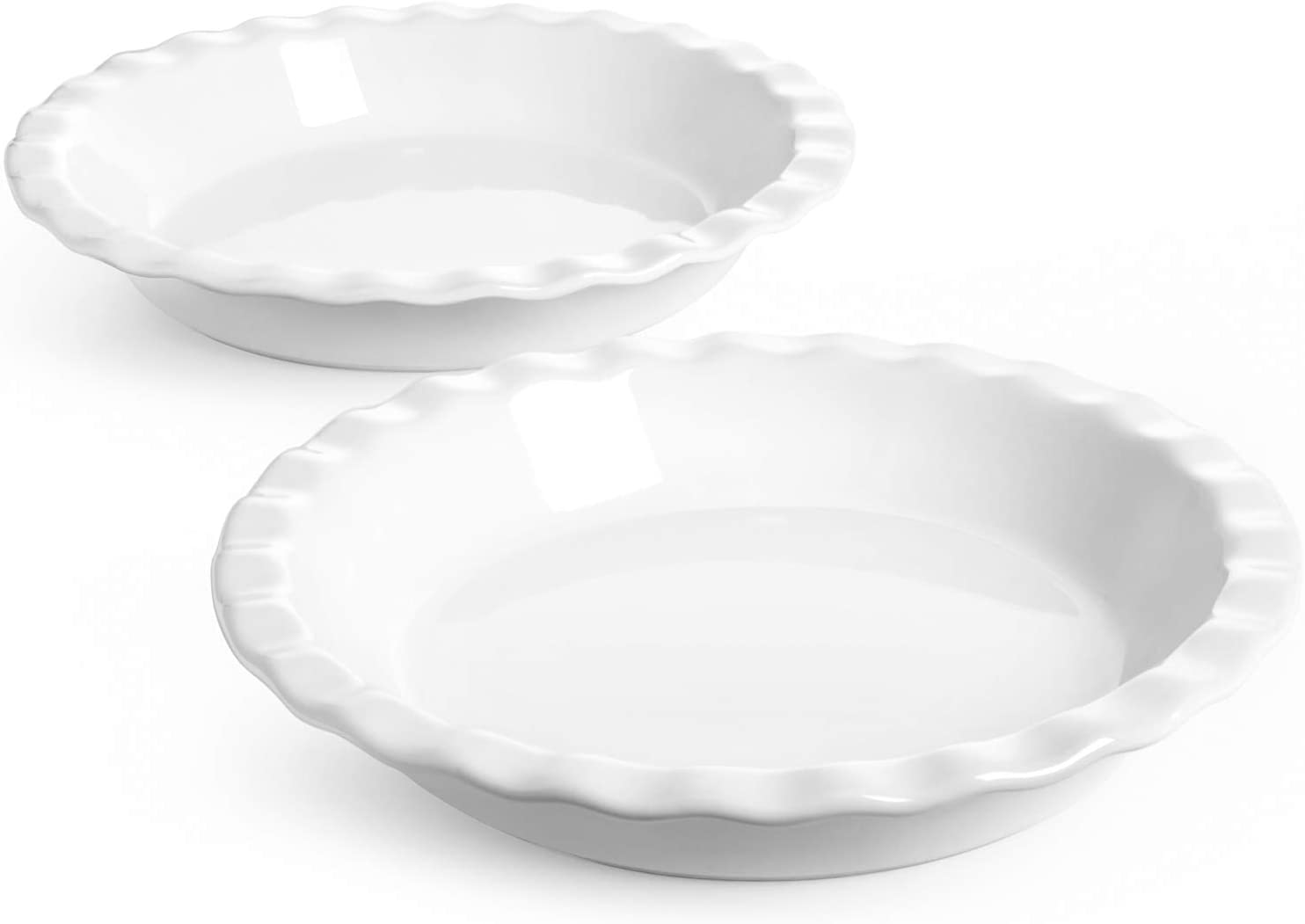 LE TAUCI Ceramic Pie Pans for Baking, 9 Inches Pie Plate for Apple Pie, Pecan Pie, 36 Ounce Deep Dish Pie Pan, Set of 2, White