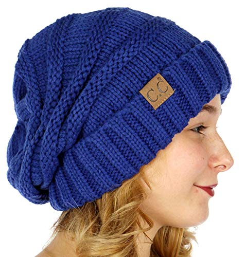 Motaierly Women's&Lady's&Girl's Baggy Warm Simple Oversized Slouchy Knit Winter Beanie Hat Warm Knitted Cap Royal Blue ()