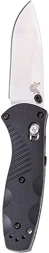 Benchmade - Mini Barrage 585 Knife, Drop-Point Blade, Plain Edge, Satin Finish, Black Handle