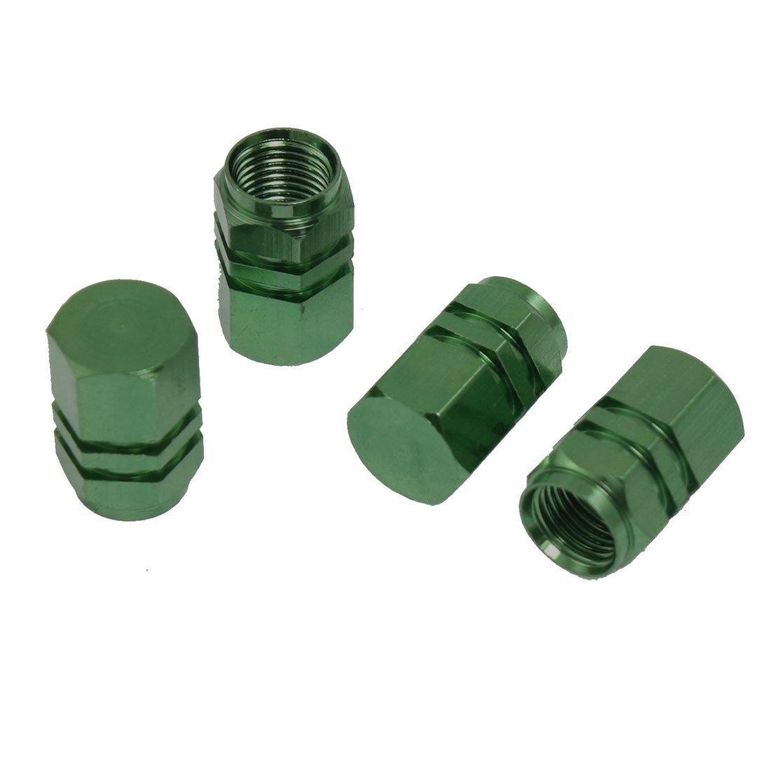 SODIAL(R) Car Auto Hexagon Tyre Tire Valve Stems Caps Cover Green 4 Pcs