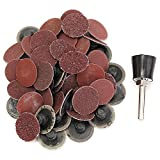 HITSAN 50pcs 1 Inch R Type Roll Lock Sanding Discs With Mandrel 36/60/80/120/220 Grit Roll Lock Coarse One Piece