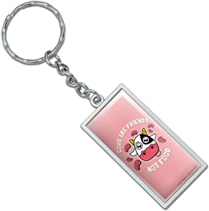 Graphics and More Cows are Friends Not Food Vegan Vegetarian Funny Humor Rectangle Keychain in Chrome Plated Metal