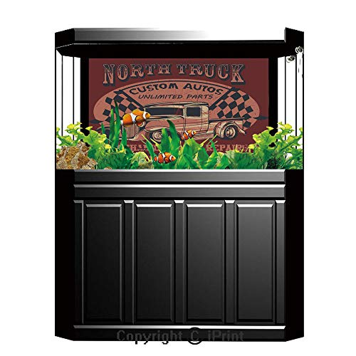 Terrarium Fish Tank Background,Man Cave Decor,North Truck Mechanical Auto Repairs Custom Autos Vintage Advertising Decorative,Ruby Coral Black,Photography Backdrop for Pictures Party Decoration,W48.03