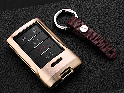 (Royalfox(TM) Luxury Aluminum Smart 5 Buttons Key Fob case Cover for Cadillac SRX 2010-2015,DTS 2006-2011,STS 2005-2011,XTS 2013,CTS 2008-2014,Escalade 2008 2009 2010 (Gold))