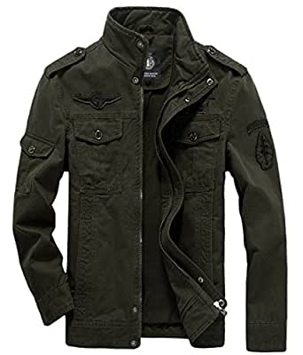 chouyatou Men's Casual Lightweight Zip Cotton Harrington Jacket Windbreaker X-Small Army