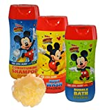 Disney Mickey Mouse 4pc Bathroom Collection! Includes Body Wash, Shampoo, Bubble Bath & Bath Scrubby!