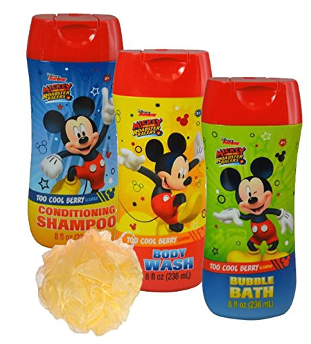 Disney Mickey Mouse 4pc Bathroom Collection! Includes Body Wash, Shampoo, Bubble Bath & Bath Scrubby!