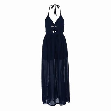 ed72b979cce Zerototens Women s Summer Dress Ladies Sexy V-Neck Backless Solid Color  High Waist Split Sleeveless