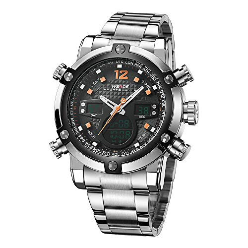 (WEIDE Digital Quartz Watch for Men Water Resistant Military Stainless Steel Wrist Watches Business Series Big Case with Box LCD Backlight)