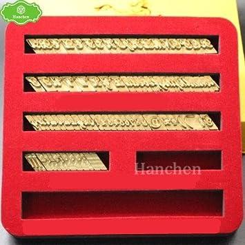 Hanchen - Moldes de latón para grabado en caliente, con estampado de letras y números flexibles de los alfabetes, para máquina de estampar (tipo T): ...