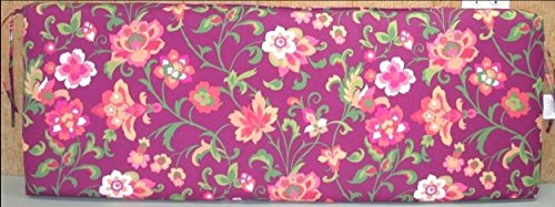 (1) Outdoor Patio Bench Cushion ~ Purple Floral ~ 17 x 46 x 3.25NEW SHIPPING INCLUDED (For Sale Bench Cushions)