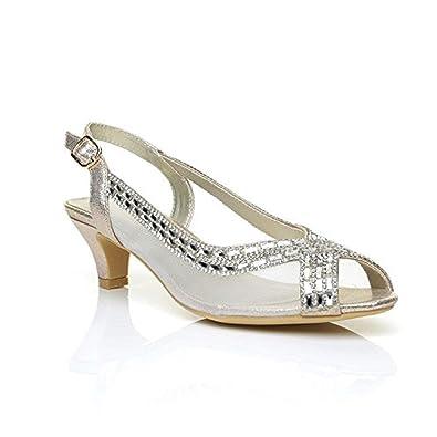 Sky Walker Women Ladies Wedding Bridal Shoes Prom Low Heel Diamante Party Sandals