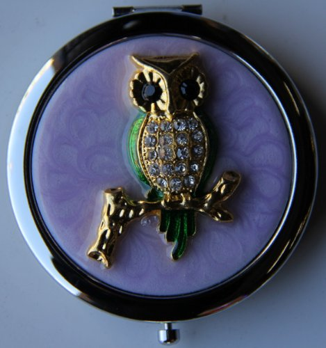 Purse Handbag Double Compact Cosmetic Mirror - Jeweled Owl (Jeweled Compact Mirror)