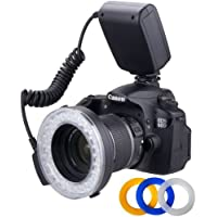 Polaroid 48 Macro LED Ring Flash & Light Includes 4 Diffusers (Clear, Warming, Blue, White) For Canon, Nikon, Panasonic, Olympus, Pentax SLR Camera