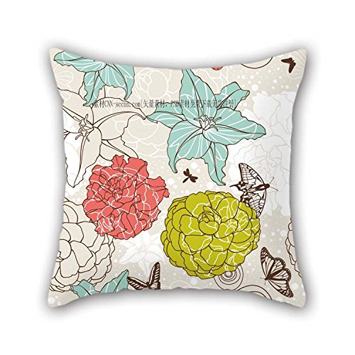 (eyeselect Flower Pillow Shams 18 X 18 Inches / 45 by 45 cm Gift Or Decor for Monther Outdoor Lounge Boys Home Office Chair - Each Side for Christmas)