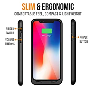 iPhone X Battery Case Qi Wireless Charging Compatible, Alpatronix BXX 5.8-inch 4200mAh Slim Rechargeable Extended Protective Portable Charger Case for iPhone X [Apple Certified Chip; iOS 11+] – Black