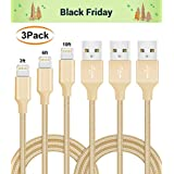 ilikable Phone Cable 3Pack 3FT 6FT 9FT Fast Nylon Charging Cord Charger Cable Compatible with iPhone 7 Plus X 8 Plus 6 Plus 6s 5s 5c SE iPad Mini Air Pro iOS Devices (Gold)