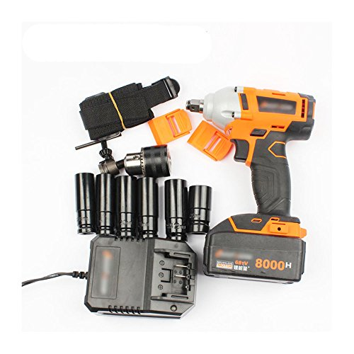 LUBAN Lithium Rechargeable Electric Wrench Impact Wrench Cordless Tool Rack Delivery 10 Sleeve Battery (8000 mA battery Motor 1 Split)