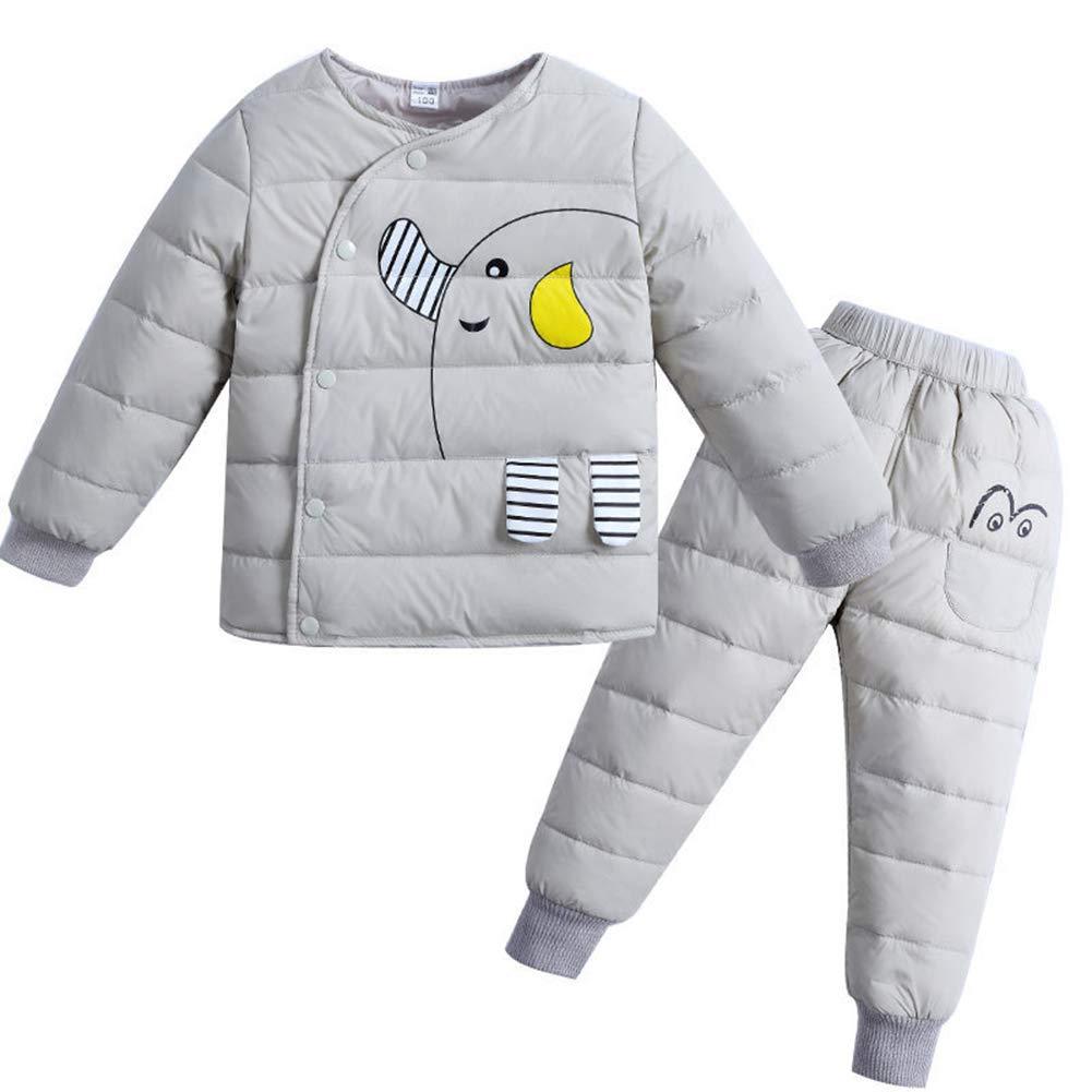 f89ca6f939 Baby Girl Boy 2 pz Elefante Snowsuit Bambino Inverno Caldo Cappuccio  Pelliccia Trim Piumino Cappotto +