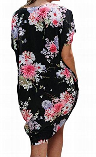 Fit Womens Pockets Loose V Black Mini Summer Domple Neck Floral Dress With O6qgx1gwa