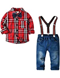 Little Boys Clothes Sets Bow Ties Shirts + Suspenders Pants Denim Jeans Toddler Boy Gentleman Outfits Suits