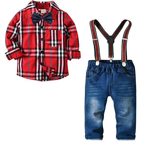 Nwada Little Boys Clothes Sets Bow Ties Shirts + Suspenders Pants Denim Jeans Toddler Boy Gentleman Outfits Suits Red Plaid 1-2 Years -