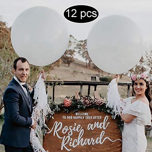 Large White Balloons 36 inch Latex Balloons, Pack of 12 Giant White Balloons for Wedding/Birthday/Baby Shower/Photo Shoot/Party Event Decorations]()