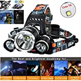 Newest Headlamp Flashlight 10000 Lumen,Best IMPROVED LED with Rechargeable Battery, Bright Head Lights,Waterproof Hard Hat Light,Fishing Head Lamp,Hunting headlamp,Running or Camping headlamp (Silver) -  Molo