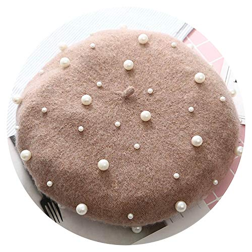 Pearl Decoration Beret Ladies Knit Hat Winter Autumn Cotton Wool Warm Flat Cap,Khaki ()