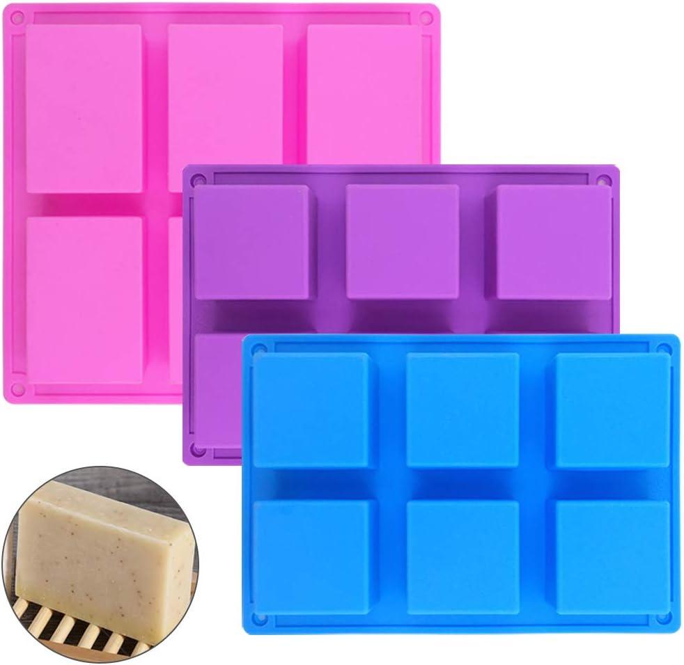 SENHAI Moule /à abeille rectangulaire 6 cavit/és et 4 moules /à savon pour cupcakes muffins bleu moules /à savon rouge savon rose