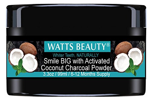 Watts Beauty Activated Coconut Charcoal Teeth Whitening Powder for Whiter Teeth Without Sensitivity - All Natural Teeth Whitening Charcoal for a Brighter Smile, Naturally - Large 3.3oz