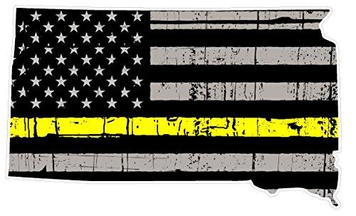 South Dakota State (E42) Thin Yellow Line Dispatch Vinyl Decal Sticker Car/Truck Laptop/Netbook Window