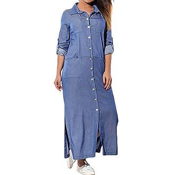 854a6e5f4d8 HOMEBABY - Women Tops Ladies Pockets Long Sleeve Denim Dress