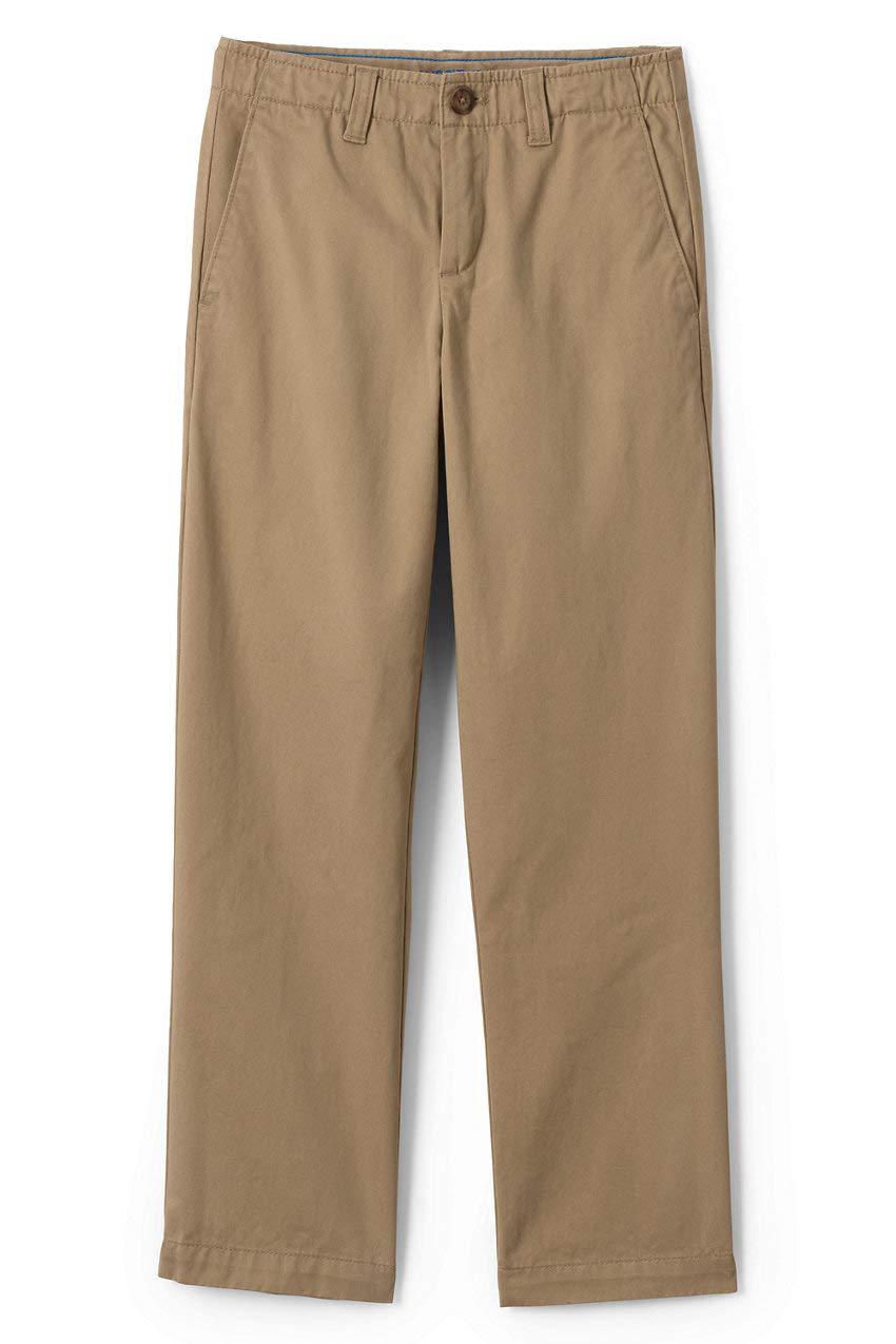 Lands' End School Uniform Boys Husky Iron Knee Chino Cadet Pants 10 TAN by Lands' End