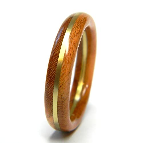 Amazoncom 5mm Black Cherry Wood Wedding Band Jewelers Brass Wood